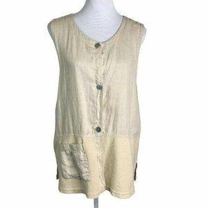 Melrose Studio Linen Button Down  Sleeveless Top